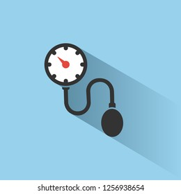 Medical tonometer icon on blue background white shade. Blood pressure check