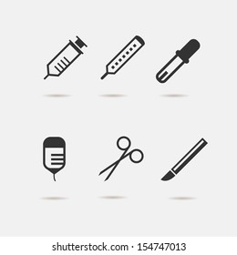 Medical tools icons set