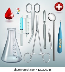 Medical tools vector set