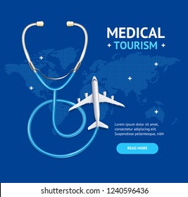 Medical Tourism Concept Banner Card with Realistic 3d Detailed Elements Include of Airplane and Phonendoscope. Vector illustration