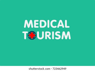 Medical tourism concept for logo, advertisement and promotional