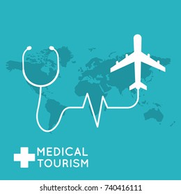 Medical tourism. Flat design modern vector illustration concept.