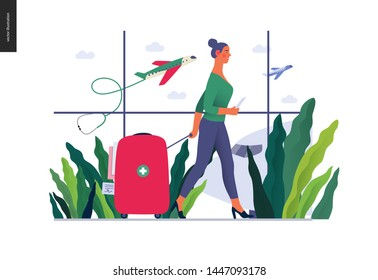 Medical tourism -medical insurance illustration -modern flat vector concept digital illustration -young woman in the airport going to flight departure for the treatment abroad, medical toursm metaphor