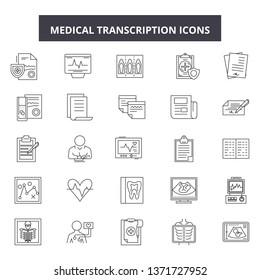 Medical transcription line icons, signs set, vector. Medical transcription outline concept, illustration: medicine,paperclip,transcript,information,medical,report,analysis,diagnostic,document