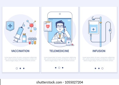 Medical treatment concept.Telemedicine.Online medical consultation.Syringe and vaccine.IInfusion.UX UI GUI screen template for smart phone or web site banners.Modern thin linear stroke icons.