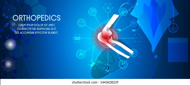 Medical treatment for orthopedic traumatology. Doctor give treatment for a patient who has a elbow injury. Orthopedics medical molecule Hexagon.Vector illustration