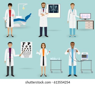 Medical treatment set with doctors of different specialties and equipment. Medicine staff occupation. Group of hospital employee. Vector illustration...