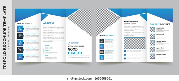 Medical tri fold brochure template Layout design. Corporate business template for try fold brochure or flyer. Layout with modern elements and abstract background. Creative concept folded flyer or broc