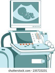 Medical ultrasonic diagnostic machine with embryo on screen