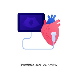 Medical ultrasound procedure concept. Vector flat healthcare illustration. Cardiology and heart diagnostic color icon symbol. Ultrasonography device symbol. Design for health care.