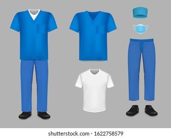Medical uniform set, vector isolated illustration. Nursing, surgical scrub, hat, mask, underscrub tee, shoes, Hospital medical staff sanitary clothing.