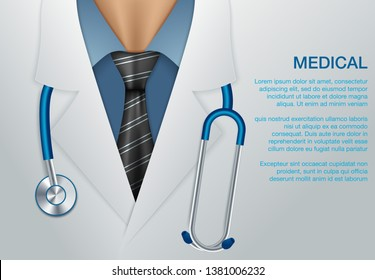 Medical vector background. Online doctor concept. Medical background with close up of doctor with stethoscope.