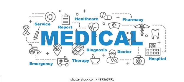 medical vector banner design concept, flat style with thin line art healthcare icons on white background