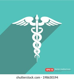 Medical vector icon ,Caduceus sign with shadow on vintage color background