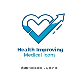 medical vector icon heart shape with a arrow pointing up for health improvement related subjects