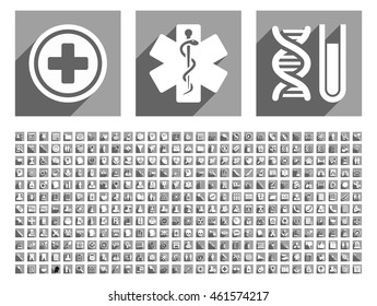 Medical vector icon set with 348 items. Style is flat white symbols with long shadow on gray square backgrounds.