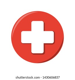 Medical vector icon, White cross on a red circle, First aid / Paramedic / Hospital