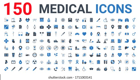 Medical Vector Icons Set. Glyph Blue Icons, Sign and Symbols in Flat Design Medicine and Health Care with Elements for Mobile Concepts and Web Apps. Collection Modern Infographic Logo and Pictogram.