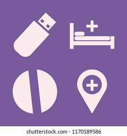 medical vector icons set. with hospital bed, flash driver, hospital location and pill in set