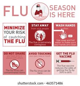 Medical vector infografics. Flu season is here. Vector illustration