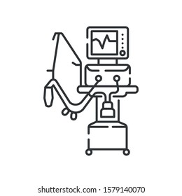 Medical ventilator line black icon. Artificial ventilation of the lungs concept. Sign for web page, mobile app. Vector isolated element. Editable stroke.