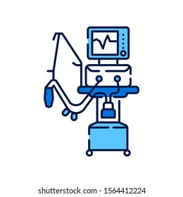 Medical ventilator line color icon. Artificial ventilation of the lungs concept. Sign for web page, mobile app. Vector isolated element. Editable stroke.