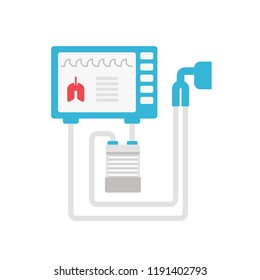 Medical ventilator vector flat illustration isolated on white background.  Mechanical respirator icon for medical infographic. Lungs mechanical ventilation concept illustration.
