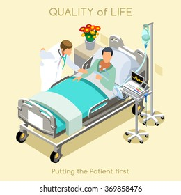 Medical visit sick patient bed medical doctor. Healthcare therapy Hospital room 3d flat design. Medical doctor Patient Check Up Clinic Visit Day Hospital Isometric People medicine Vector illustration