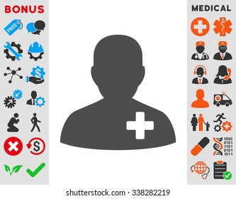 Medical Volunteer vector icon with bonus. Style is flat symbol, gray color, rounded angles, white background.