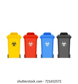 Medical waste bin set. Vector illustration isolated on white background