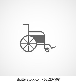 Medical Wheelchair Flat Icon On White Background