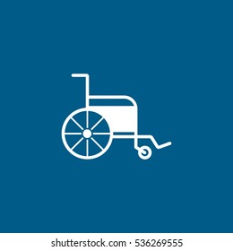 Medical Wheelchair Flat Icon On Blue Background