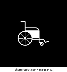 Medical Wheelchair Flat Icon On Black Background