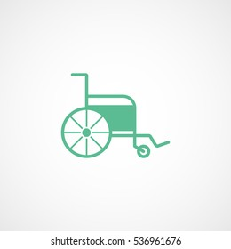 Medical Wheelchair Green Flat Icon On White Background