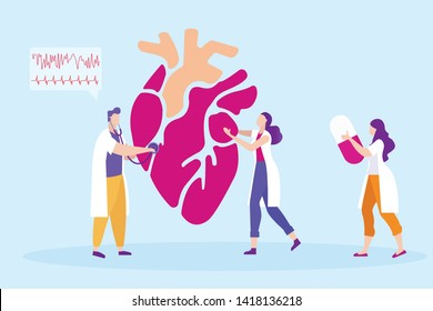 Medical in White Coat Students Studying Heart. Distance Learning. Lesson Online. E-Learning. Vector Illustration. Study Medicine. Students in White Coat. Listen Heartbeat. Cardiogram. Pill in Hands.