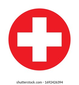 Medical white cross symbol in a red circle vector icon.