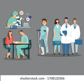 medical work icons doctors patients sketch cartoon characters