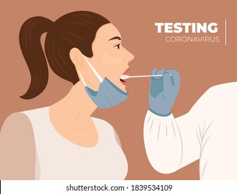 Medical worker test coronavirus to woman by throat swab. Patient receiving a coronavirus test. Medical staff testing woman by mouth for Covid-19 test.Vector illustration. Patient being tested infectin