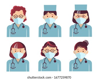 Medical workers symbol avatars. Vector doctors portrait in masks isolated on white. Hospital staff in uniform. EPS 10