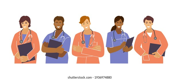 Medical workers are a team of five people.Frontline heroes Doctors and nurses. Vector illustration in the flat style.