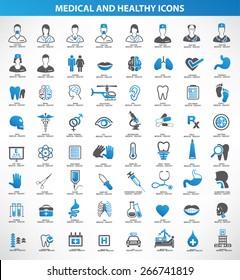 Medical,Healthy icon set,blue version,clean vector