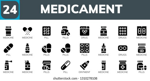 medicament icon set. 24 filled medicament icons.  Collection Of - Medicine, Pill, Pills, Drug, Drugs, Ointment