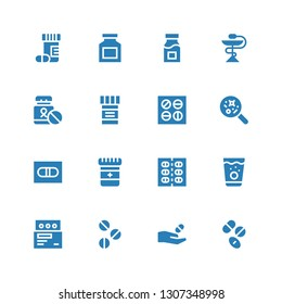 medicament icon set. Collection of 16 filled medicament icons included Drugs, Medicine, Pills, Pill, Disease, Drug