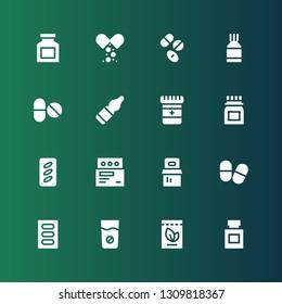 medicament icon set. Collection of 16 filled medicament icons included Medicine, Pills, Vials, Drugs, Drug