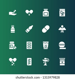 medicament icon set. Collection of 16 filled medicament icons included Medicine, Pills, Pill, Vials, Drug