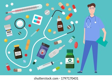 Medicament pharmacy, hospital set of medicines in various forms. Medicament pharmaceutic concept. Doctor and medicines. Set of tablets, blister, spray, syrup, syringe, injection for sickness treatment