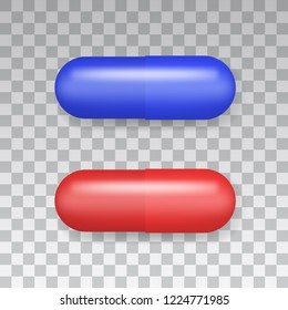 Medicaments top view vector of a red and blue oval pill on transparent background.