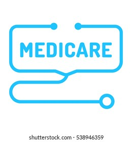 Medicare. Badge with stethoscope icon. Flat vector illustration on white background.