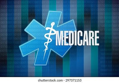 Medicare binary sign concept illustration design over black