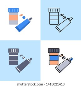 Medication icon set in flat and line style. Pills bottle and cream tube symbols. Vector illustration.